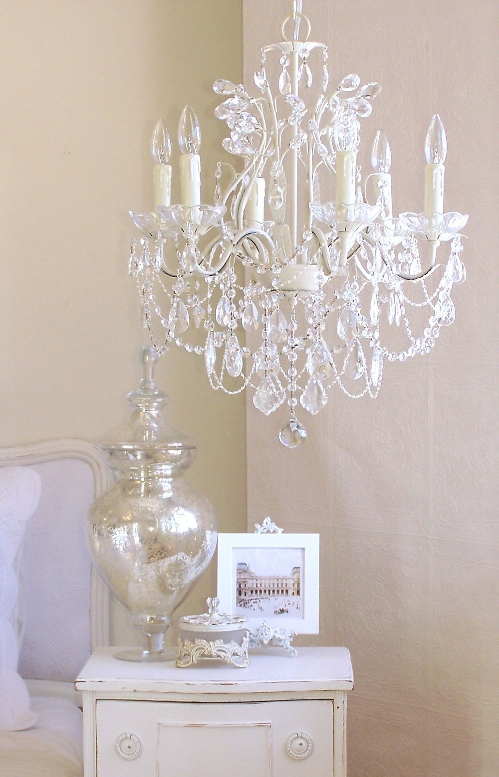 Most Up To Date Mini Chandeliers For Nursery In 5 Light Antique White Chandelier With Pink Rose Shades (View 18 of 20)
