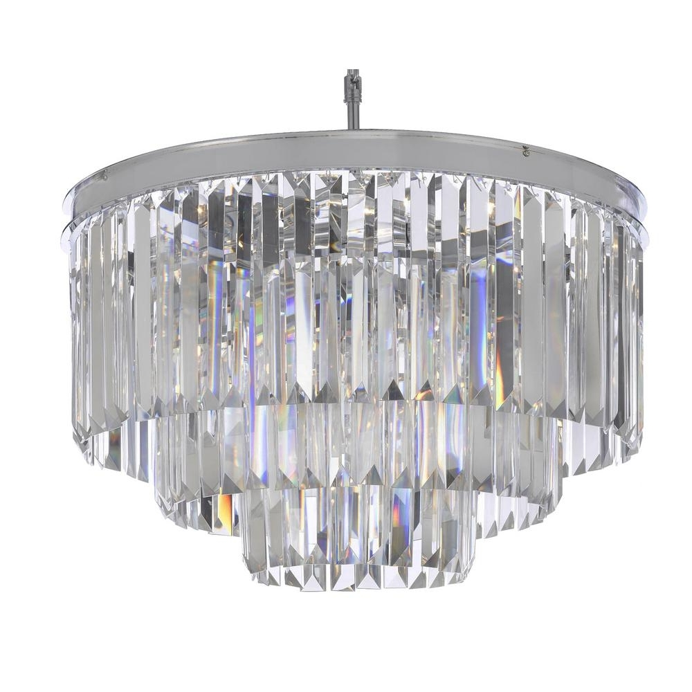 Most Up To Date Odeon 9 Light Chrome Crystal Glass Fringe Modern Chandelier T40 450 With Regard To Chrome And Glass Chandeliers (View 10 of 20)