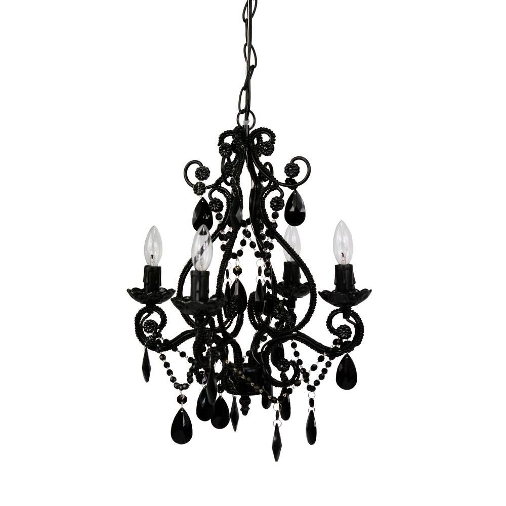Most Up To Date Tadpoles 4 Light Pink Mini Chandelier Cchapl404 – The Home Depot Inside Black Chandelier (View 1 of 20)