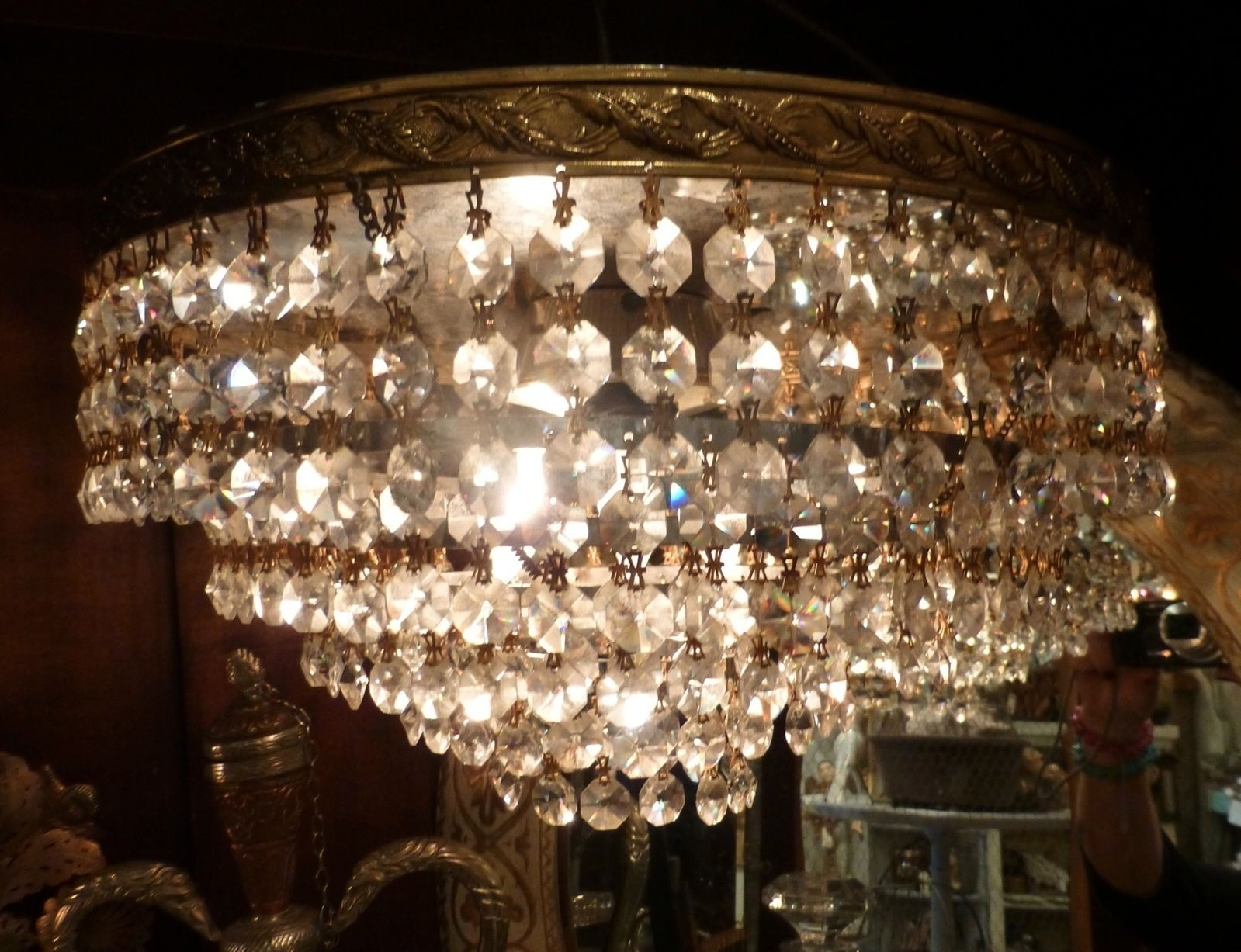 Most Up To Date Vintage Crystal European Chandelier Wedding Cake French Flush Mount In Lucinda Branch Chandelier (View 5 of 20)