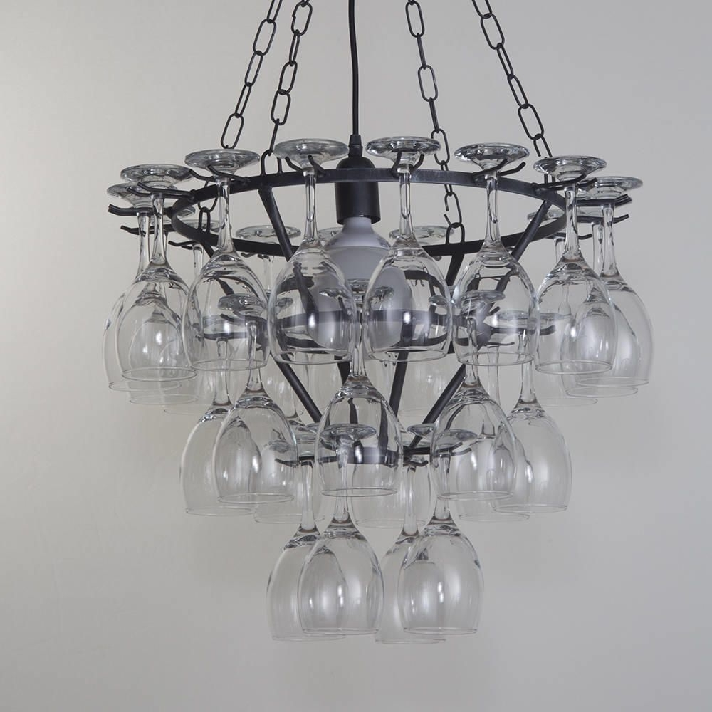 Most Up To Date Wine Glass Chandelier – 3 Tier – Black From Litecraft In Black Glass Chandelier (View 18 of 20)