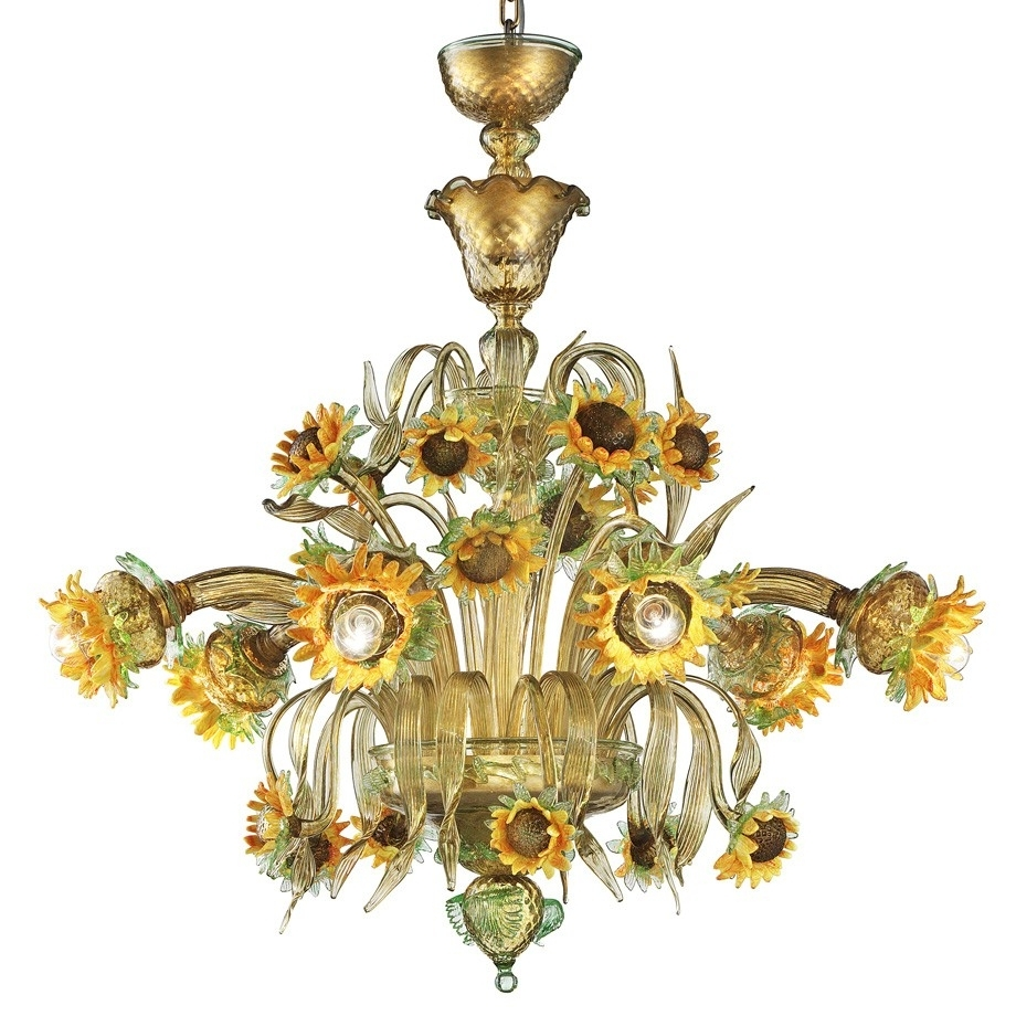 "Murano Chandelier Throughout Trendy Girasole"" Sunflowers Murano Glass Chandelier – Murano Glass Chandeliers (View 3 of 20)"