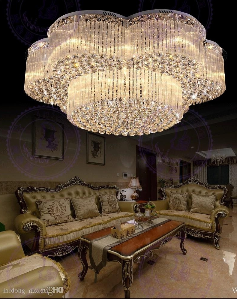 New Design Flush Mount Contemporary Large Chandeliers Crystal Lights Regarding Most Recently Released Contemporary Large Chandeliers (View 11 of 20)