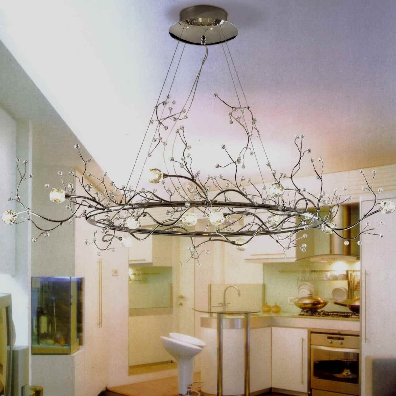 "Newest 40"" Albero Modern Crystal Branch Oval Chandelier Polished Chrome 8 For Lucinda Branch Chandelier (View 16 of 20)"