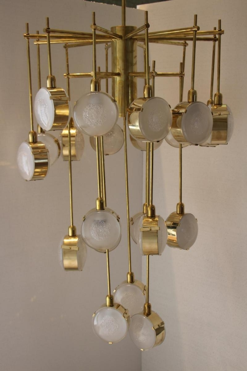 Newest Brass And Glass Chandelier With Italian Modern Mid Century Brass And Glass Chandelier For Sale At Pamono (View 13 of 20)