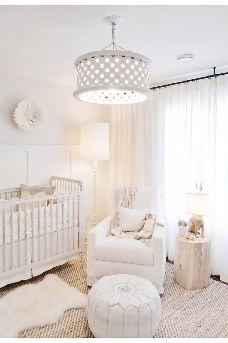 Newest Chandeliers Design : Marvelous Baby Girl Nursery Room With Stripes Inside Chandeliers For Girl Nursery (Gallery 17 of 20)