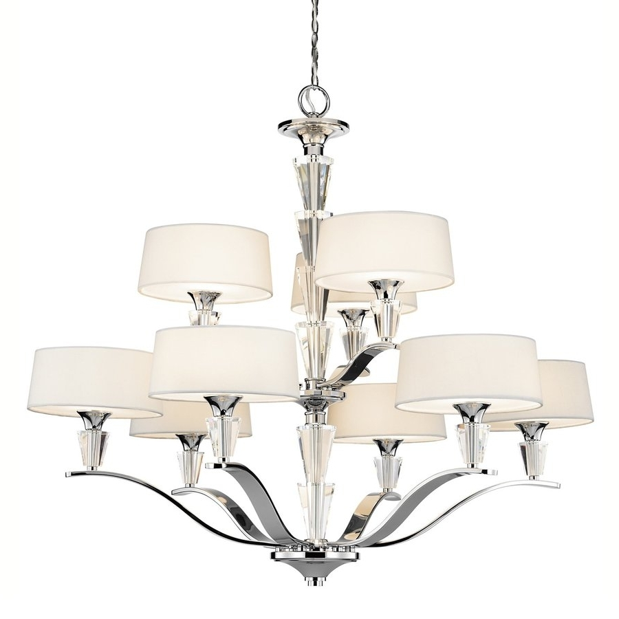 Newest Chrome And Glass Chandeliers In Shop Kichler Crystal Persuasion 37 In 9 Light Chrome Crystal (Gallery 13 of 20)