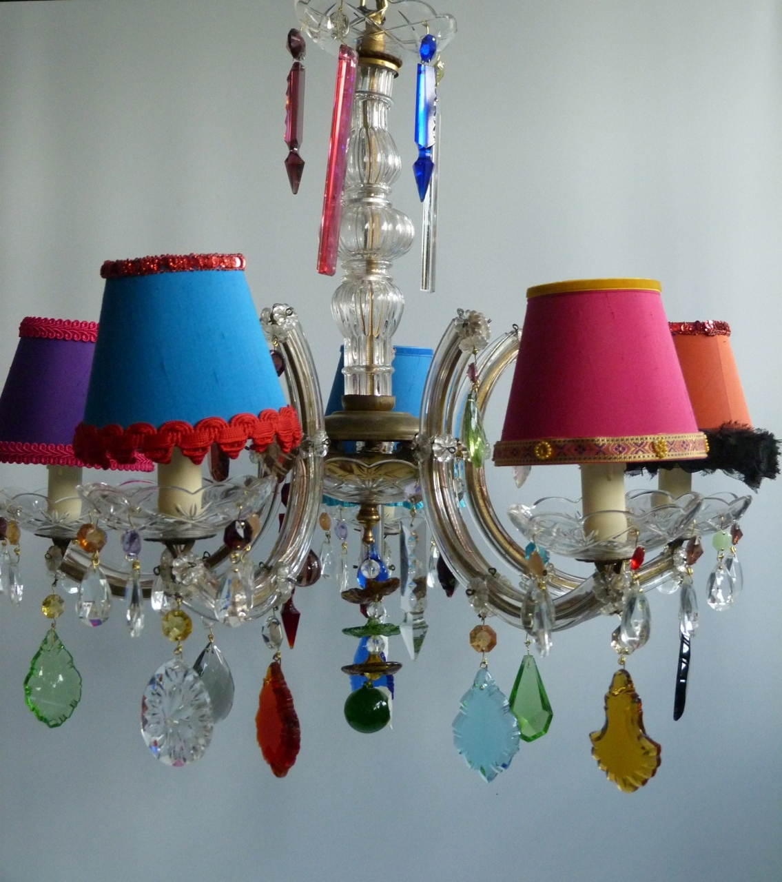 Newest Coloured Chandeliers Regarding 5 Arm Marie Therese With Multi Coloured Droplets And Shades – The (Gallery 16 of 20)