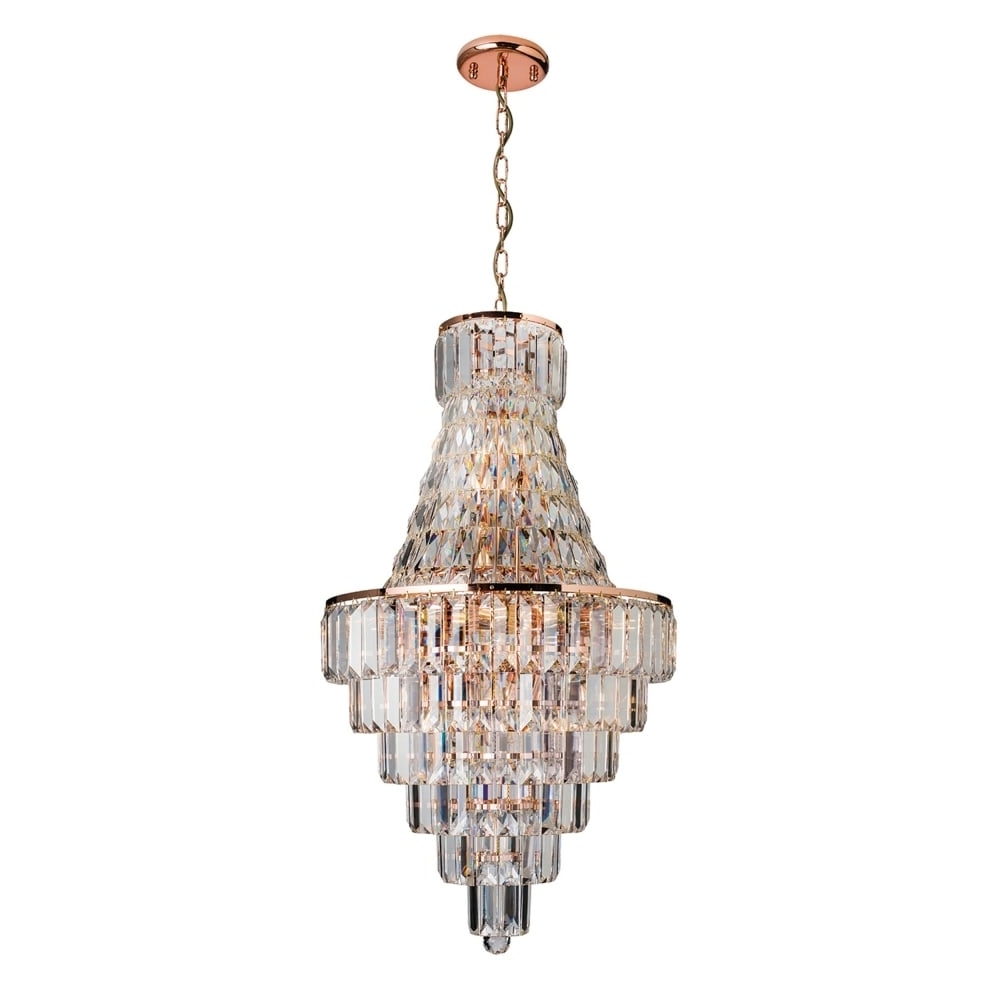 Newest Endon 61150 Innsbruck Rose Gold And Asfour Lead Crystal Chandelier With Regard To Lead Crystal Chandelier (View 16 of 20)