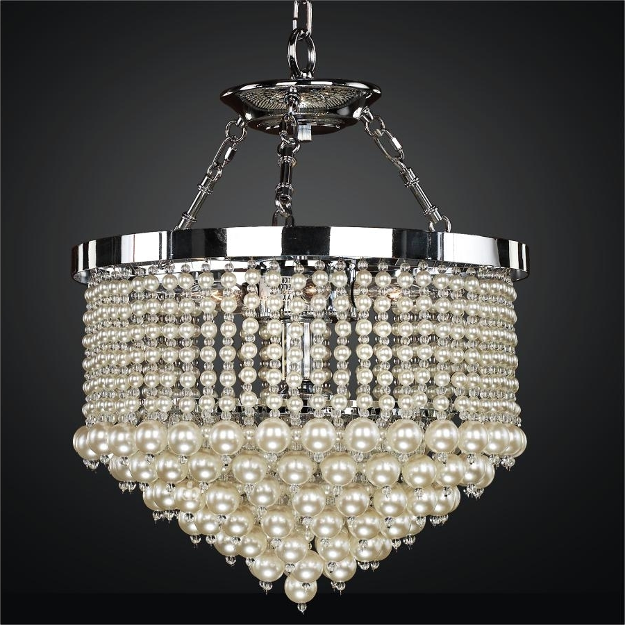 Newest Faux Crystal Chandeliers Within Pearl Chandelier Light (View 7 of 20)