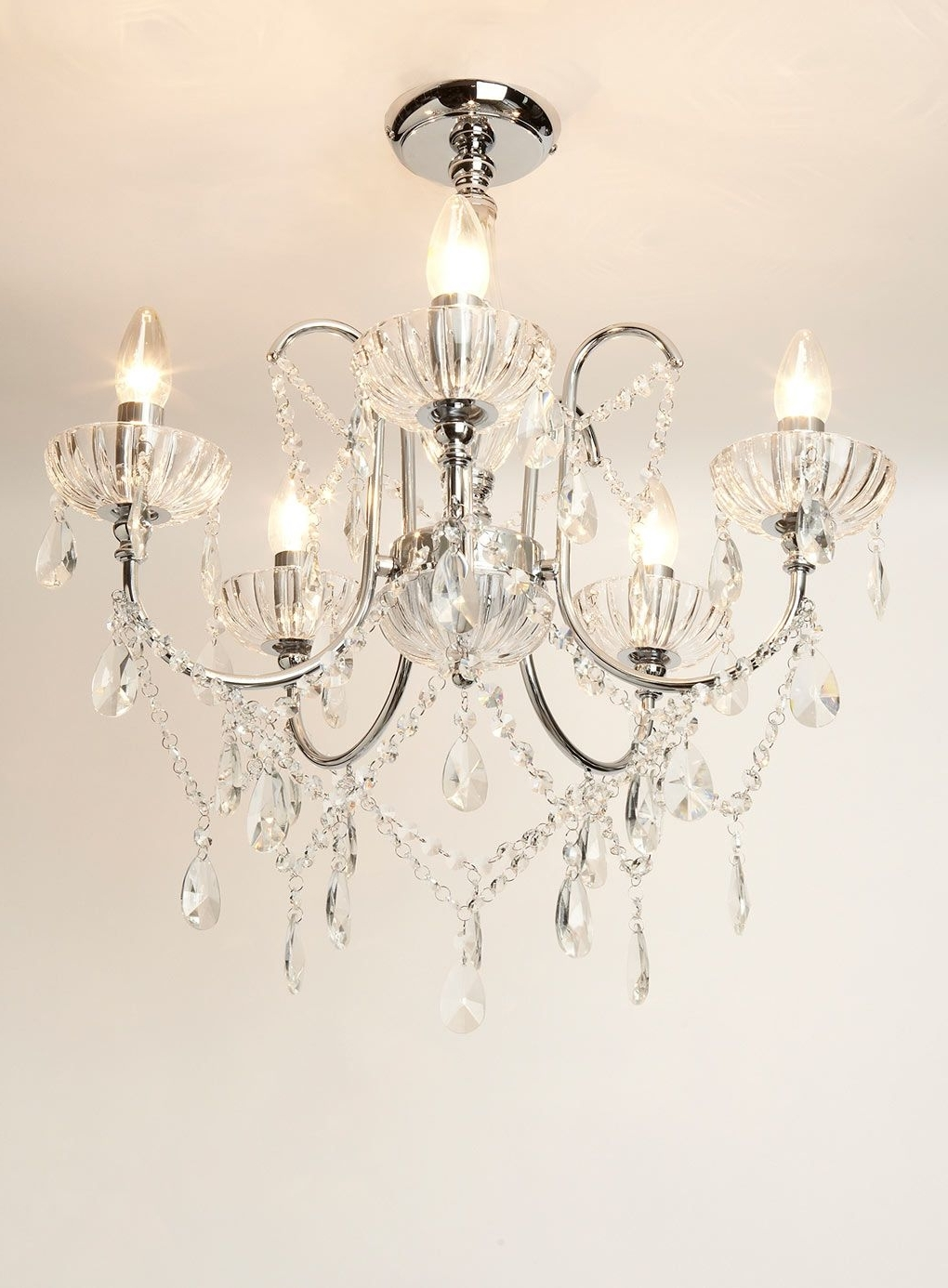 Newest Flush Fitting Chandeliers Pertaining To Sapparia 5 Light Flush Chandelier Bhs, £60 (Was £120), Living (Gallery 3 of 20)