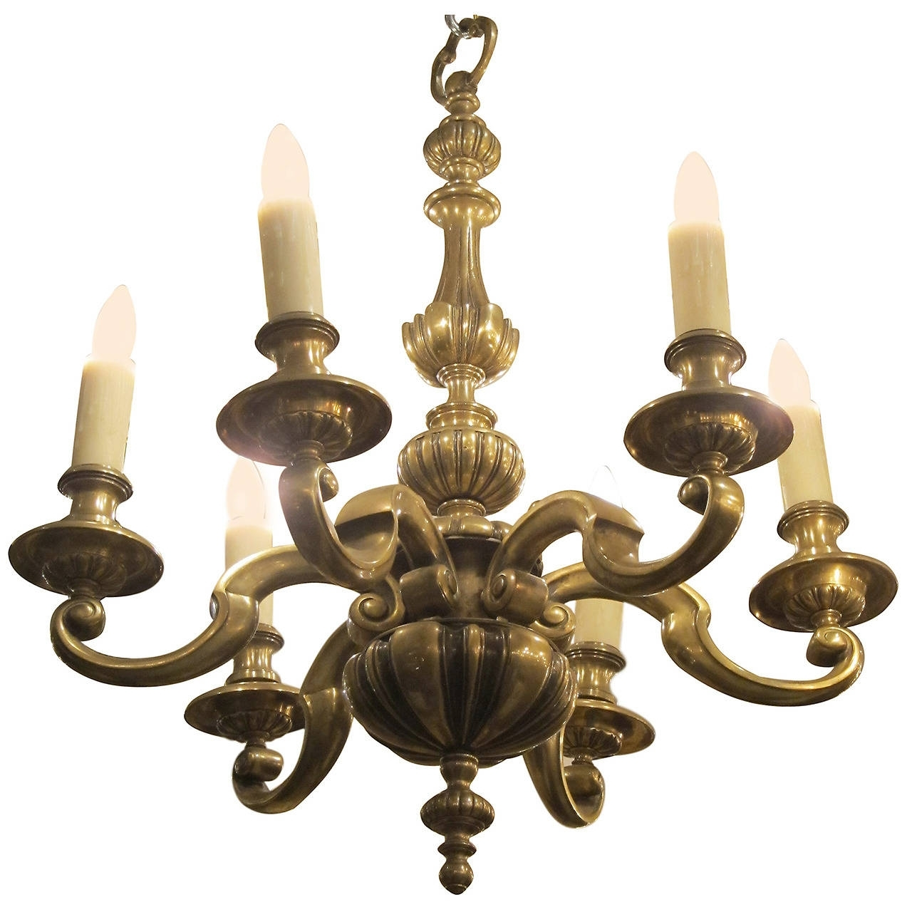 Newest Georgian Chandelier Within 1920S English Bronze Georgian Style Six Light Chandelier For Sale At (Gallery 8 of 20)