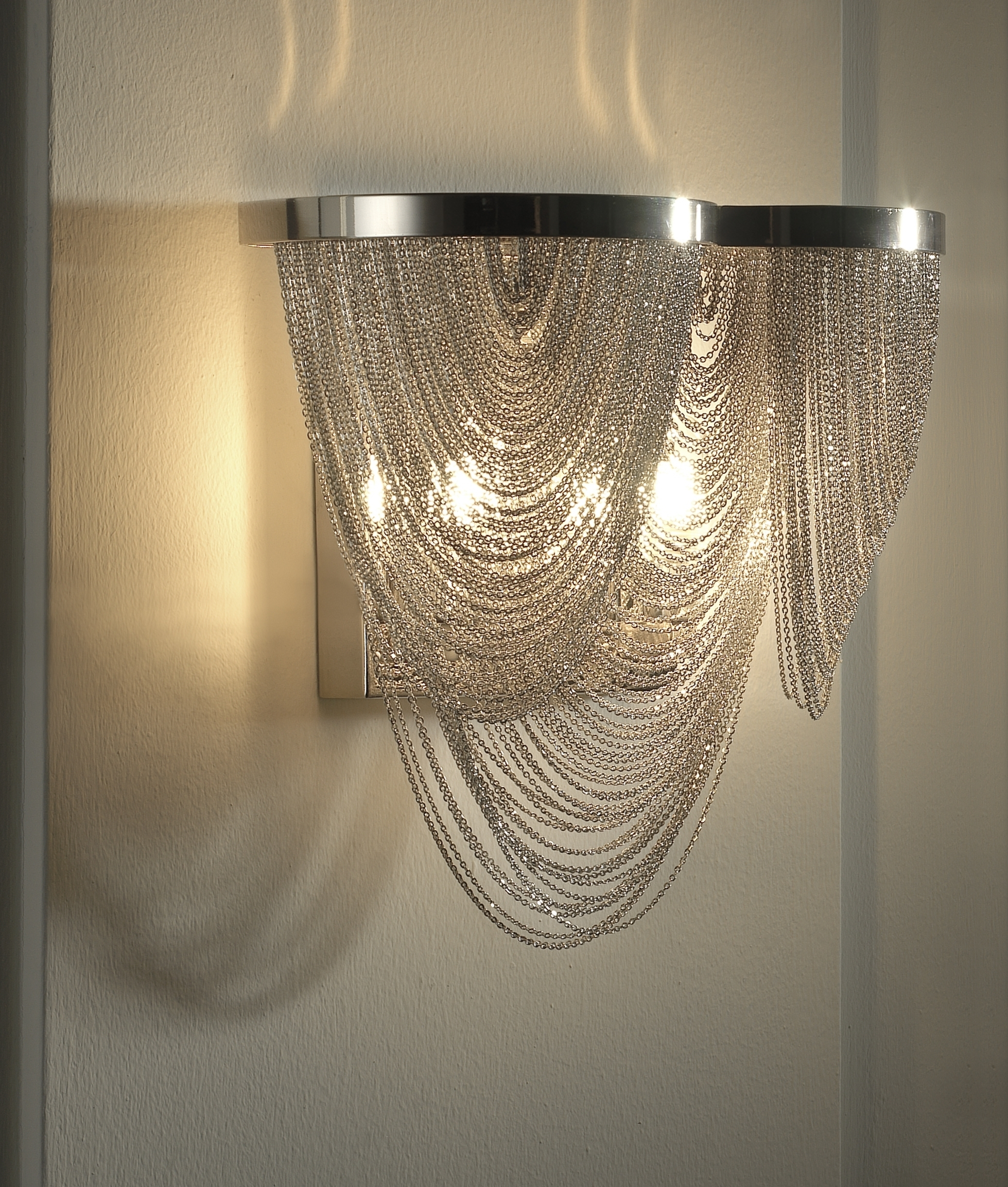 Newest Glitzy Chain & Scoop Metal Wall Light Inside Chandelier Wall Lights (View 17 of 20)