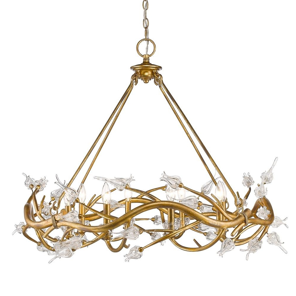 Newest Golden Lighting Aiyana 8 Light Gold Leaf Chandelier With Clear Glass For Gold Leaf Chandelier (View 4 of 20)