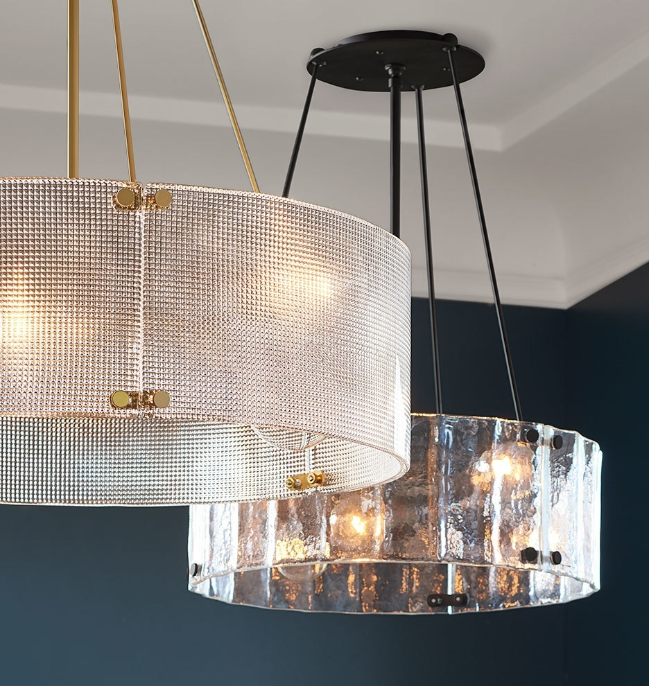 "Newest Large Glass Chandelier Pertaining To Willamette 32"" Diamond Glass Chandelier (View 17 of 20)"