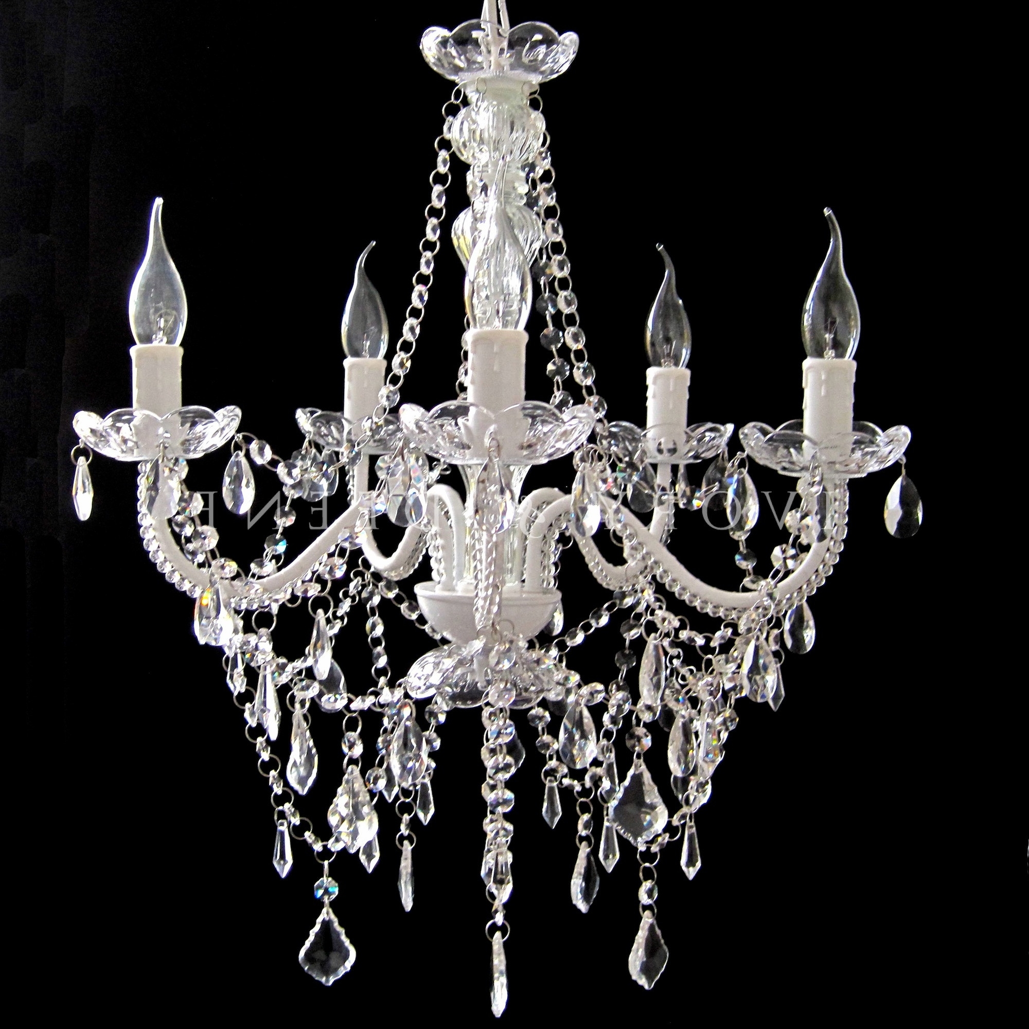 Newest Lighting: Chandelier 5 Light French Provincial Glass Cassie With Intended For French Glass Chandelier (Gallery 1 of 20)