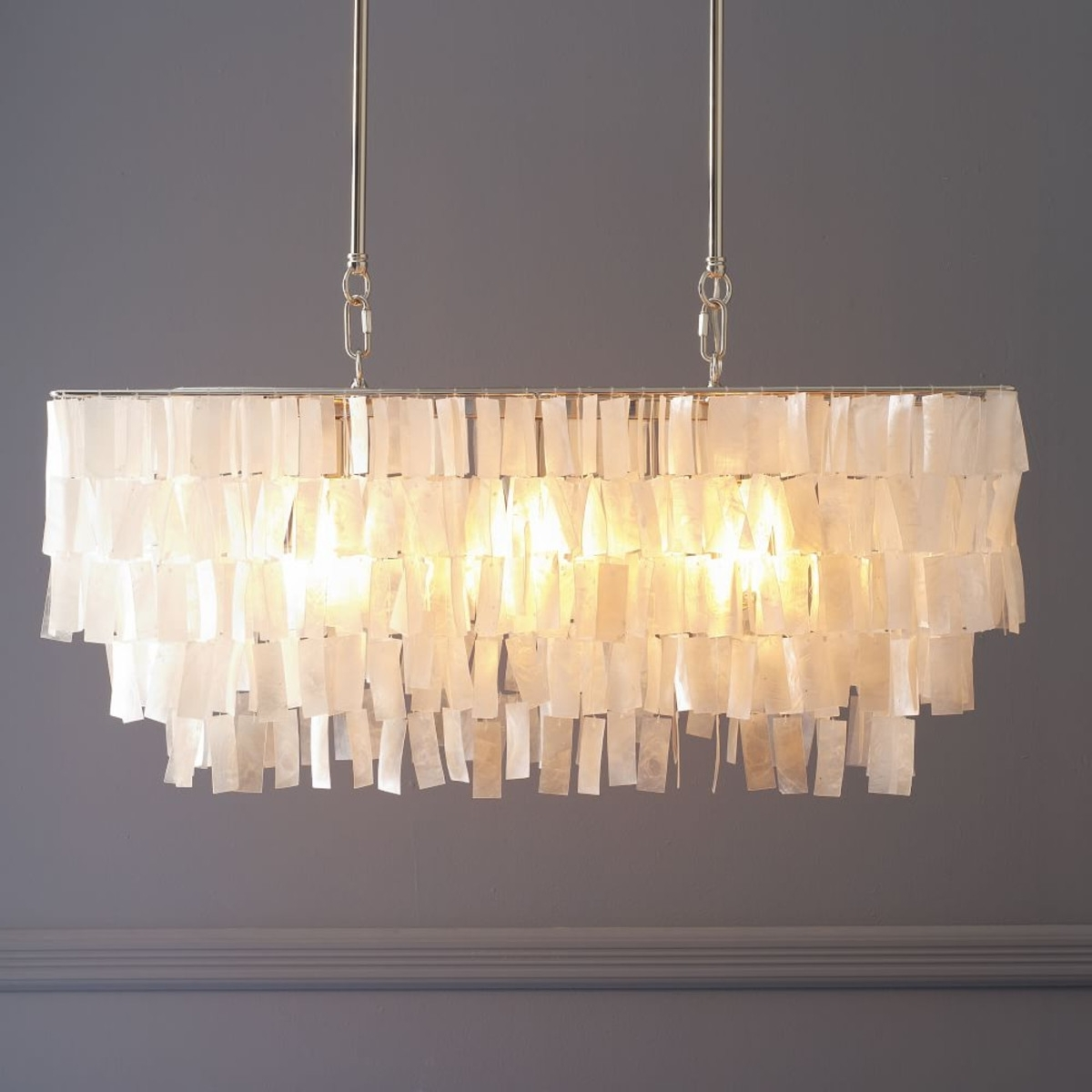 Newest Long Hanging Chandeliers Pertaining To Large Rectangle Hanging Capiz Chandelier – White (View 14 of 20)