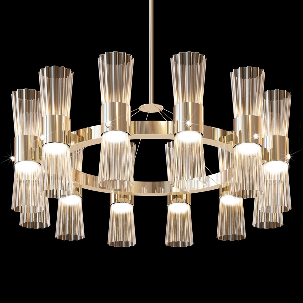 Newest Modern Gold Leaf Murano Glass Chandelier (View 11 of 20)
