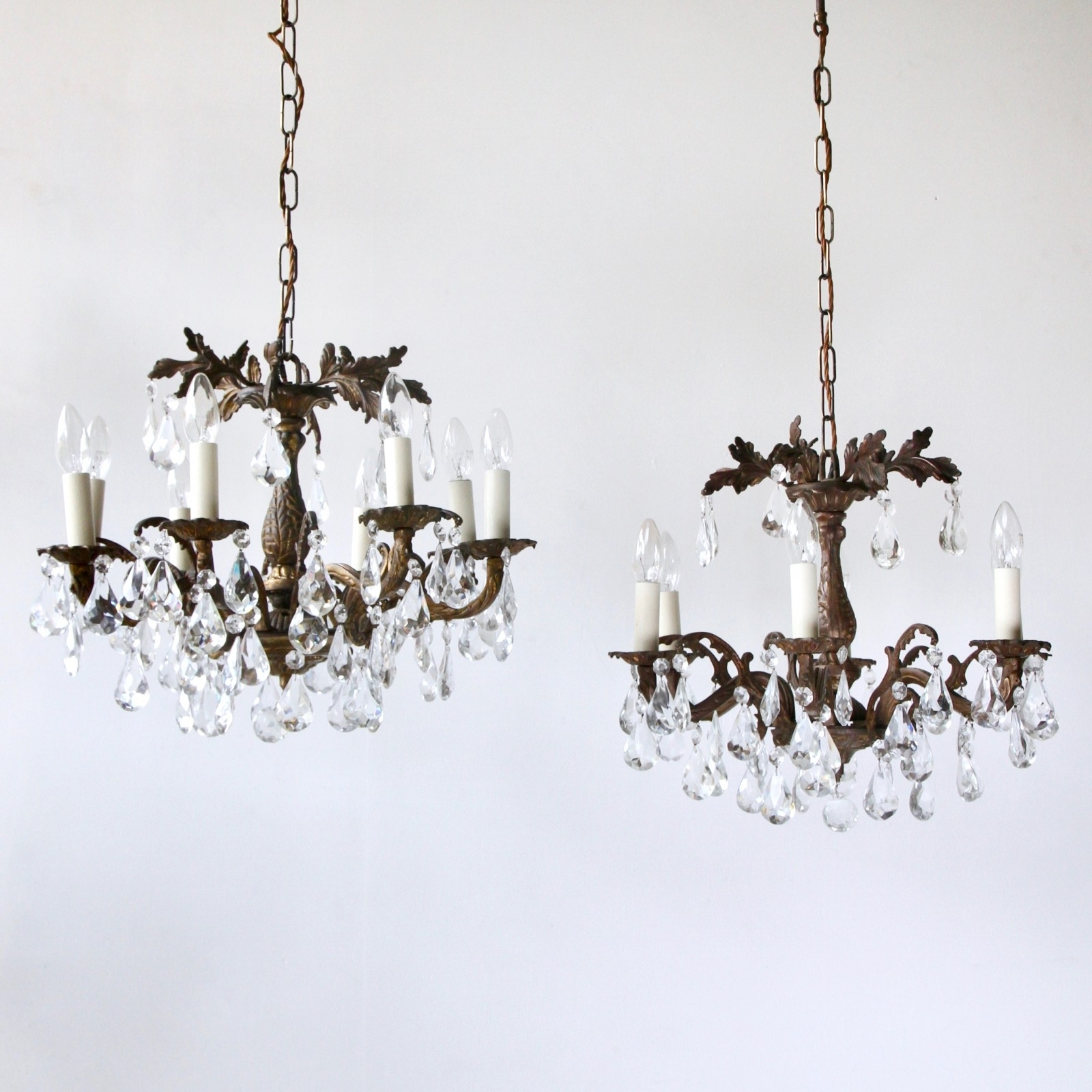 Newest Ornate Chandeliers With Regard To Ornate Brass Chandeliers Dressed In Cut Crystal Pear Drops (View 8 of 20)