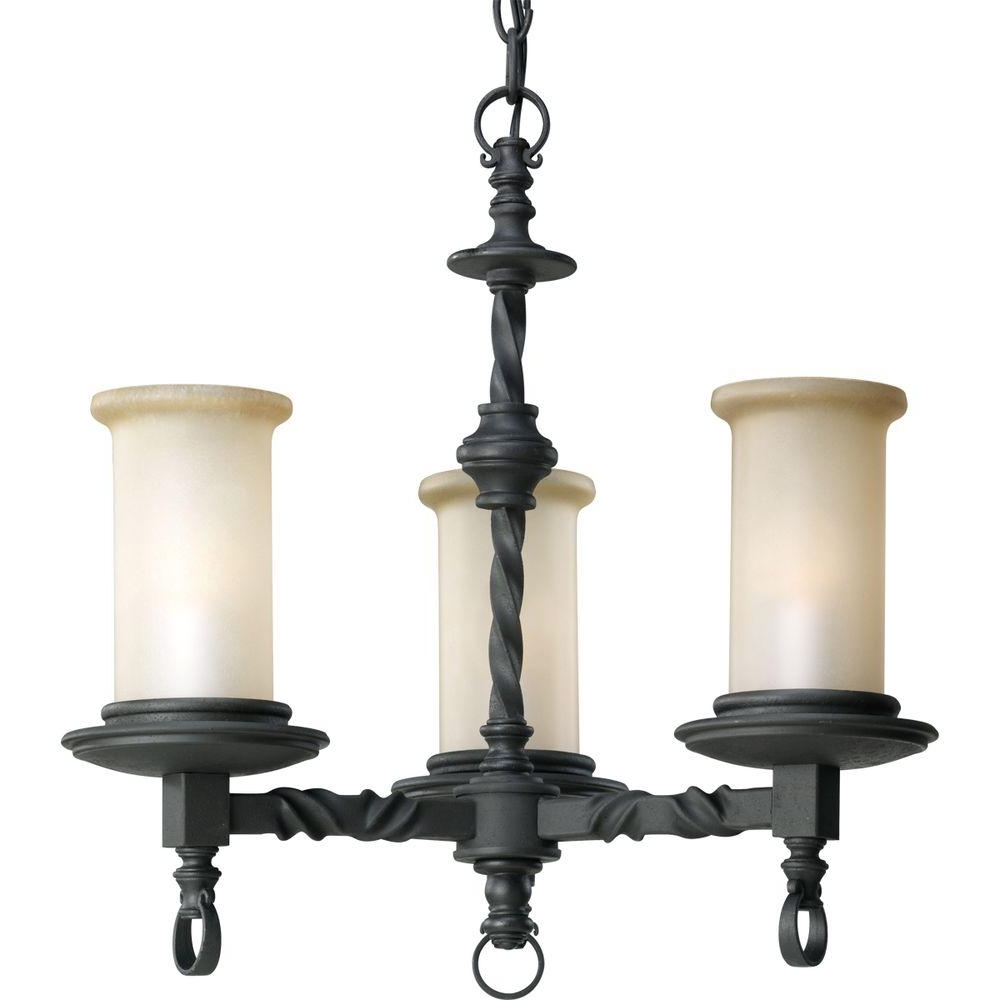 Newest Progress Lighting Santiago Collection 3 Light Forged Black Pertaining To Black Chandeliers (View 13 of 20)
