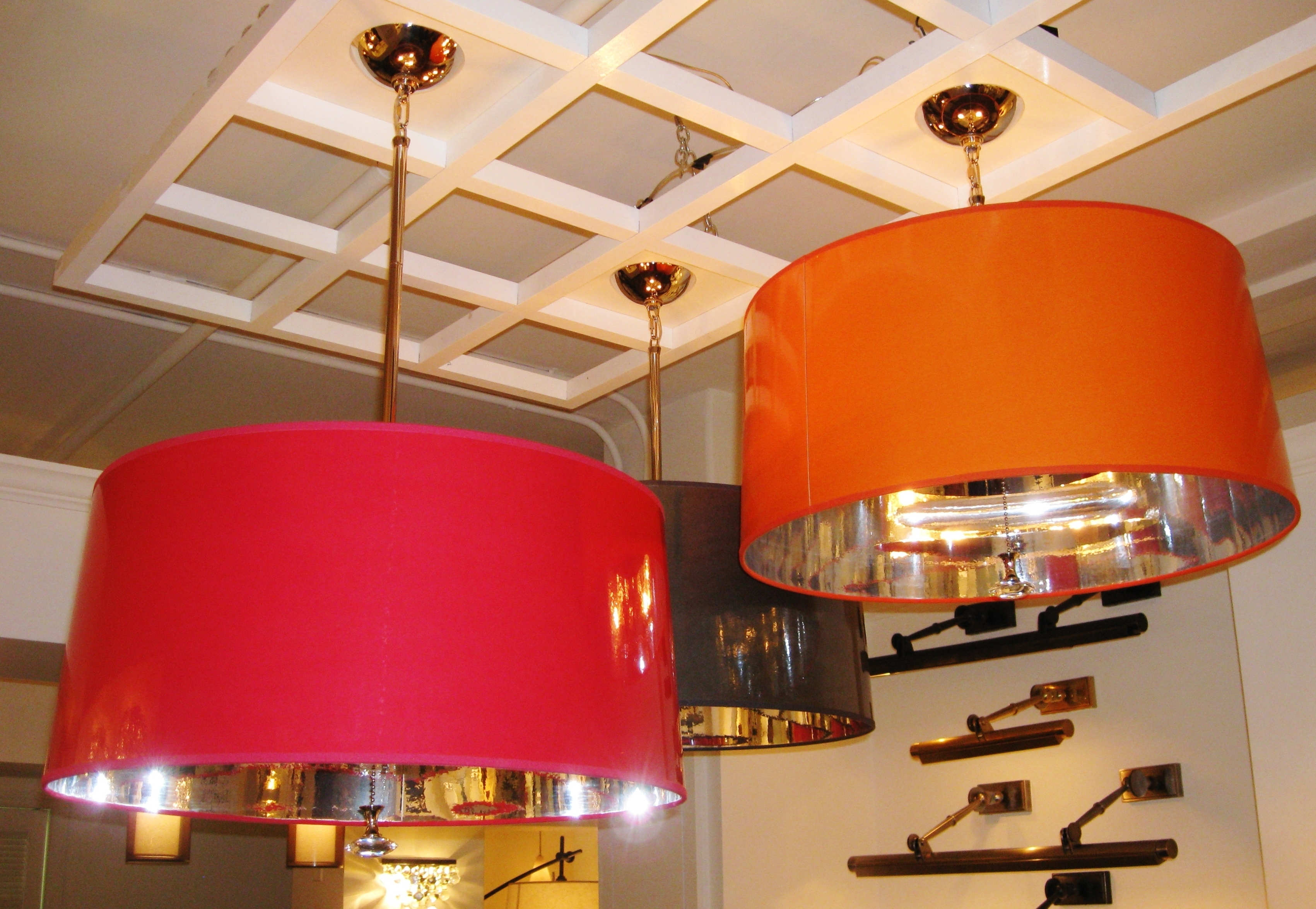 Newest Robert Abbey Penelope Pendant Drum Shade In Orange, Fuschia, Black Pertaining To Fuschia Chandelier (View 12 of 20)