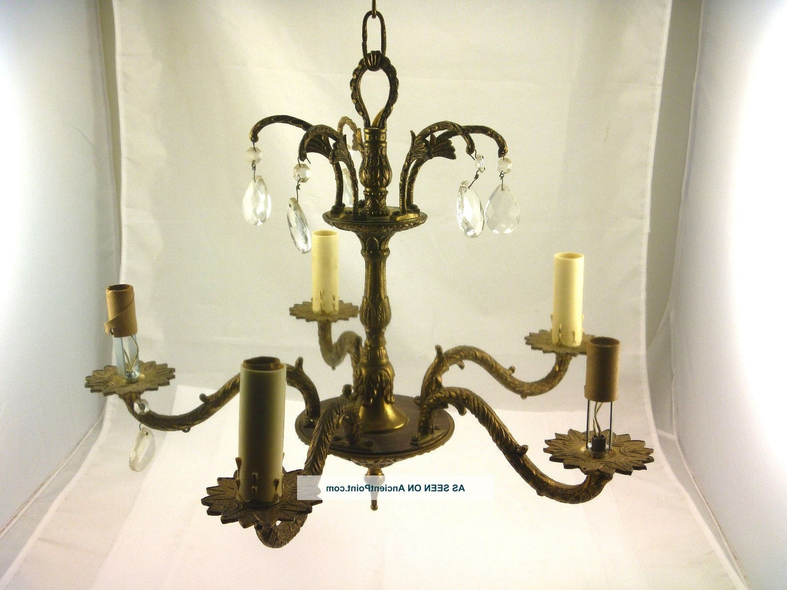 Ornate Chandeliers Inside Most Current Vintage Petite Brass & Crystal Chandelier 5 Arm Ornate Ceiling (View 11 of 20)