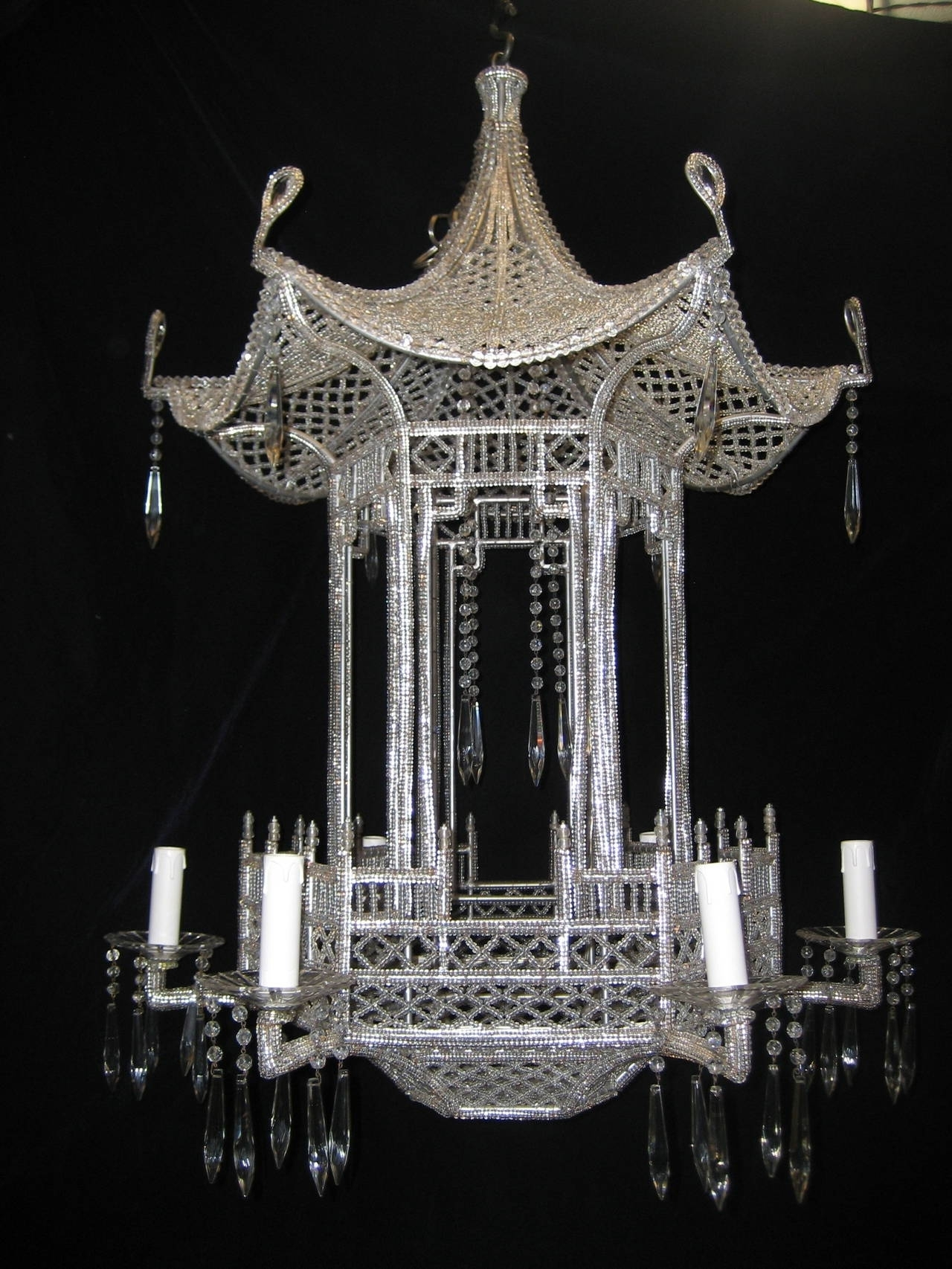 Pair Of Italian Chinoiserie Pagoda Form Beaded Glass And Crystal In Famous Chinoiserie Chandeliers (View 11 of 20)