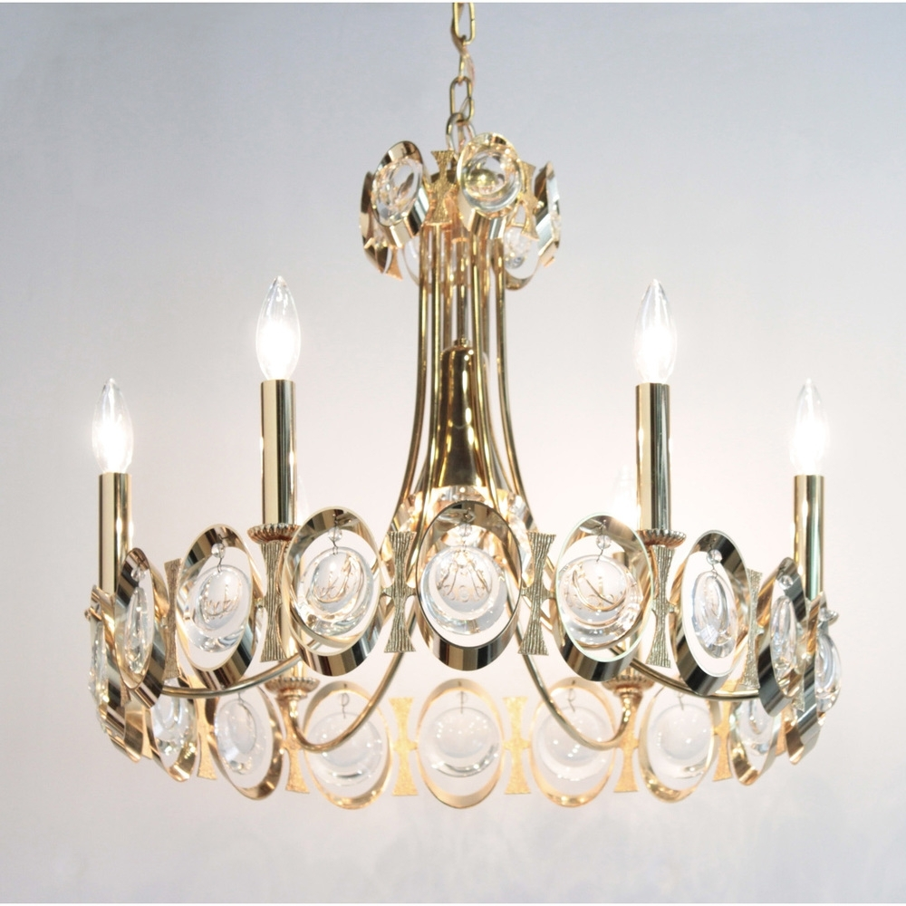 Pawla Elegant Brass And Crystal Chandelier 1960s — Lobel Modern Nyc Pertaining To 2019 Brass And Crystal Chandelier (View 15 of 20)