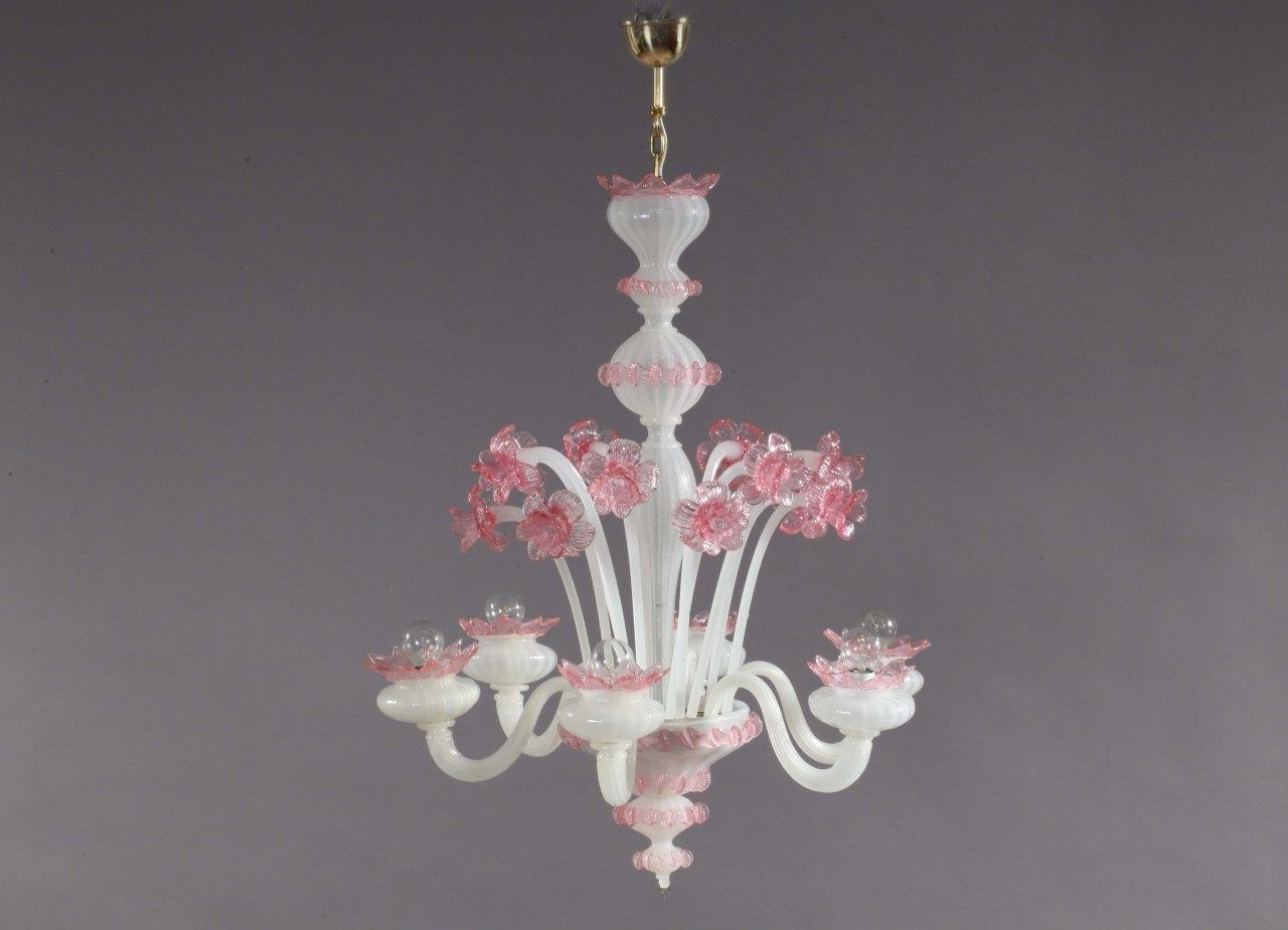 Pink And White Blown Glass Chandelier From Murano, 1940s For Sale At With 2019 Glass Chandelier (View 15 of 20)