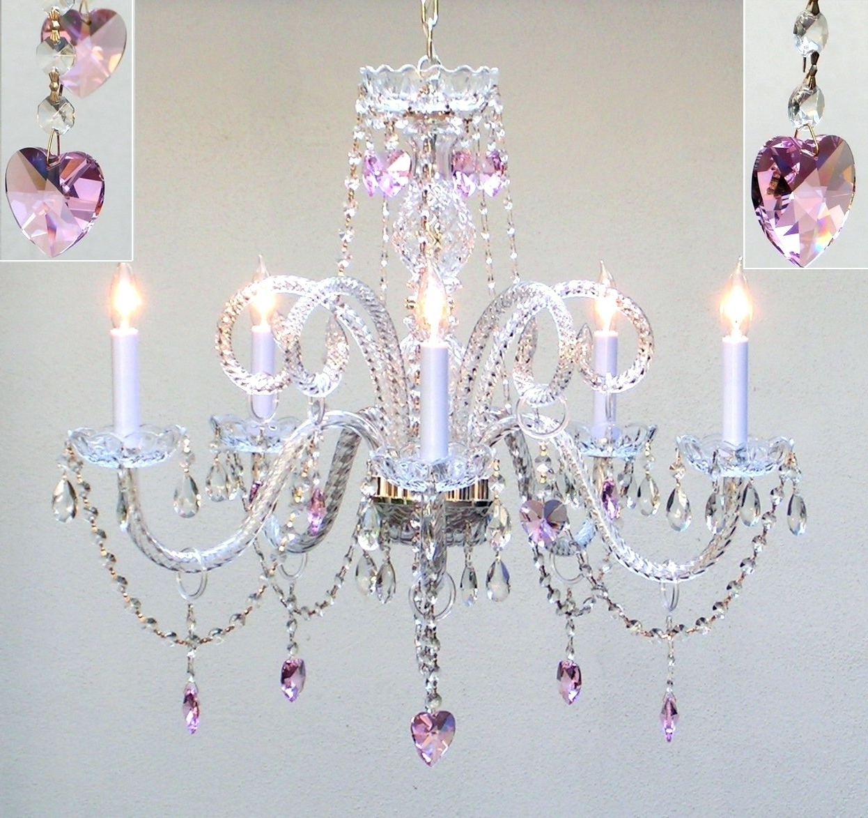 Pink Gypsy Chandeliers Inside Popular Light : Lamp Create An Adorable Room For Your Gallery With (View 5 of 20)