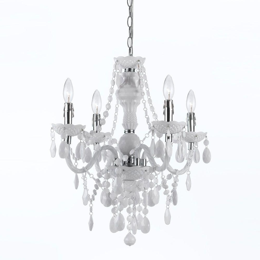 Pink Plastic Chandeliers With Regard To Preferred Af Lighting Naples 4 Light Chrome Mini Chandelier With White Plastic (View 16 of 20)