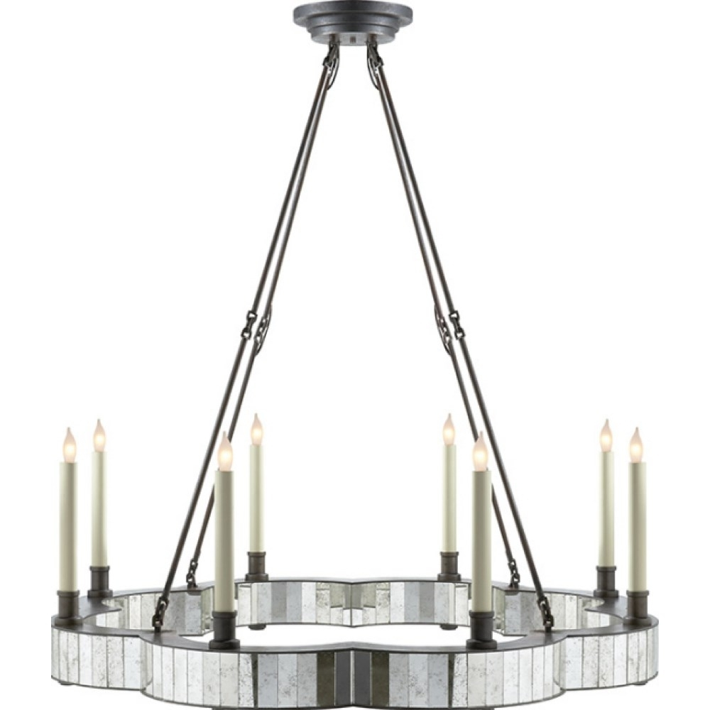 Popular Antique Mirror Chandelier In Visual Comfort Se5020Ai Studio Claridge 8 Light Round Chandelier In (View 15 of 20)