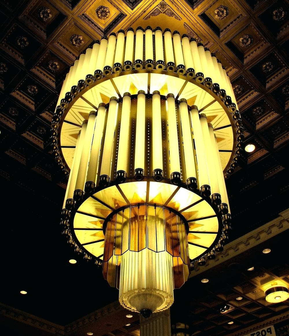 Popular Art Deco Chandelier French Art Chandelier With Building Motif Art Throughout Art Deco Chandeliers (View 18 of 20)