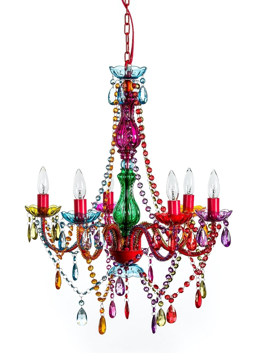 Popular Bohemian Gypsy Colorful 6 Arm Large Multi Color Chandelier Lighting Throughout Pink Gypsy Chandeliers (View 18 of 20)