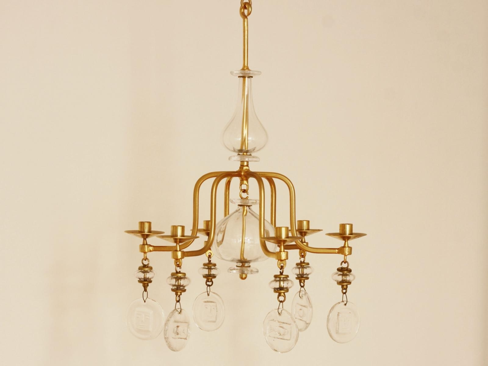 Popular Candle Chandelier Within Large Mid Century Gilded Iron & Glass Candle Chandeliererik (View 13 of 20)