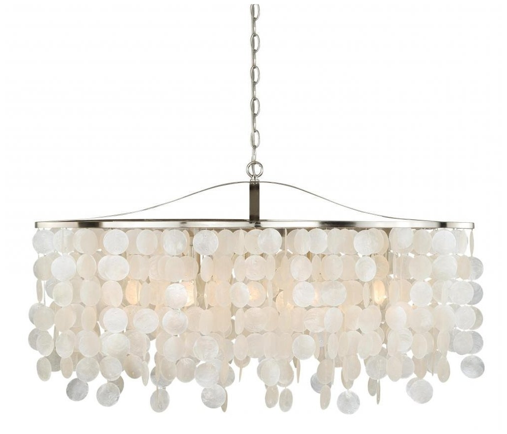 Popular Chandelier Light Shades Within Lamp: Capiz Chandelier Handcrafted Light Shade Tide Pool From The (View 17 of 20)