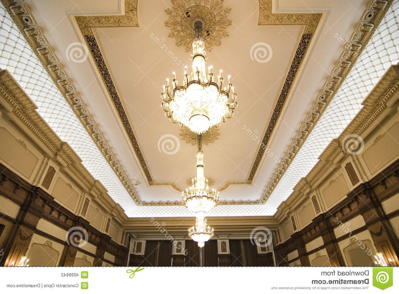 Popular Chandeliers On Ornate Ceiling Stock Photo – Image Of Interior Regarding Ornate Chandeliers (View 15 of 20)