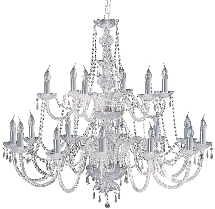 Popular Chrome And Crystal Chandeliers With Hale Georgian Style 18 Light Crystal Chandelier Chrome 17218  (View 18 of 20)