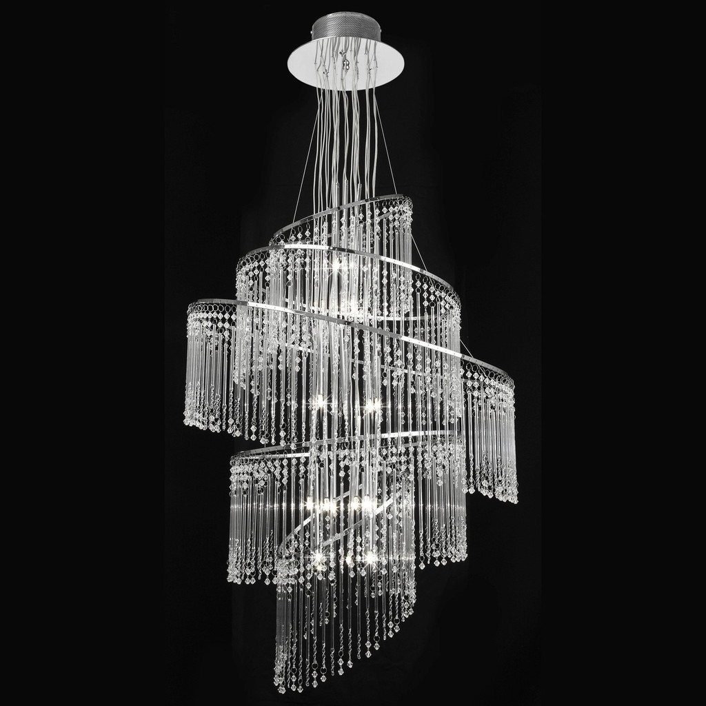 Popular Endon Lighting Camille 24ch 24 Light Chrome Chandelier With Glass Pertaining To Endon Lighting Chandeliers (View 9 of 20)