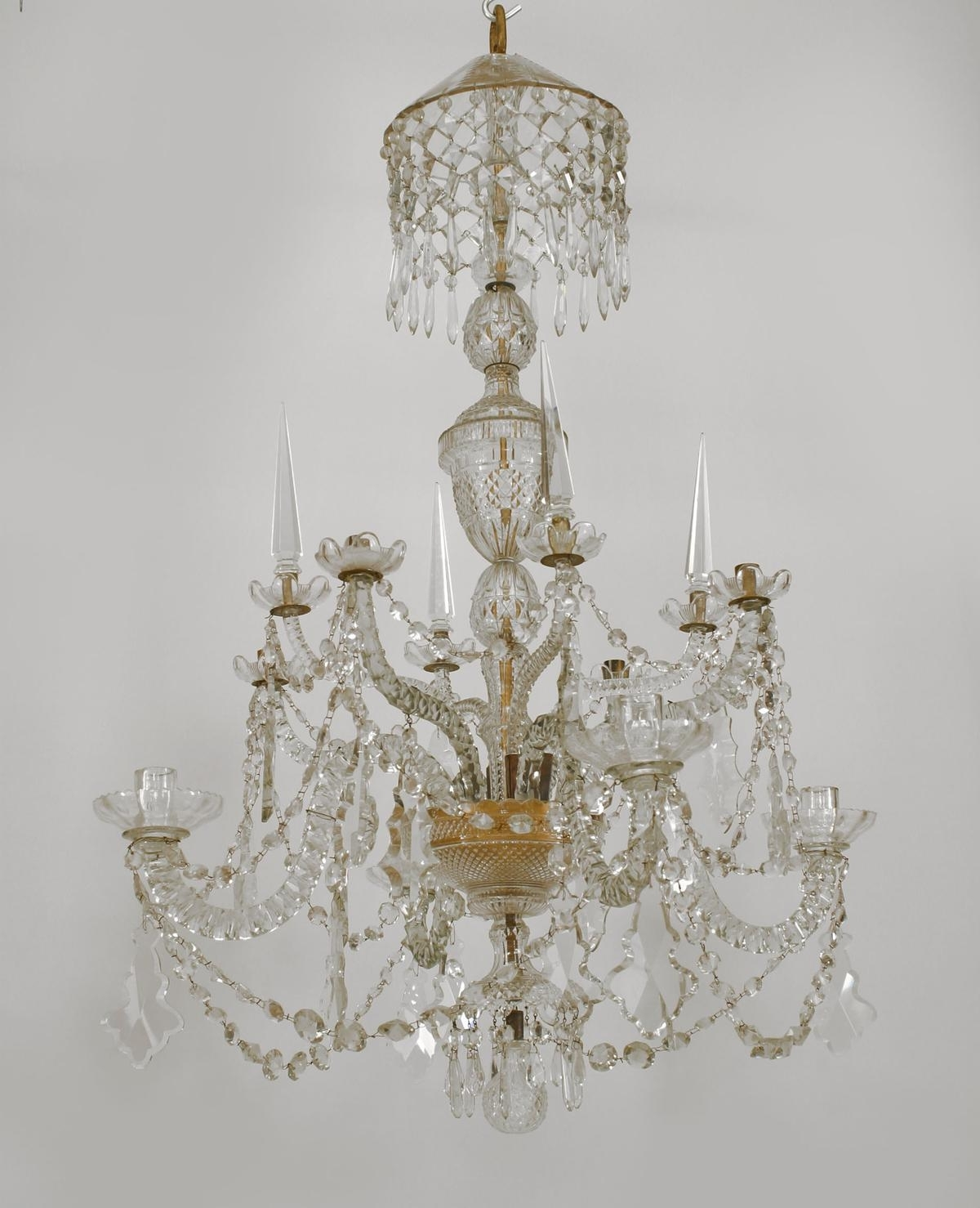 Popular English Georgian 8 Scroll Arm Cut Crystal Chandelier On 2 Tiers With Inside 3 Tier Crystal Chandelier (View 16 of 20)