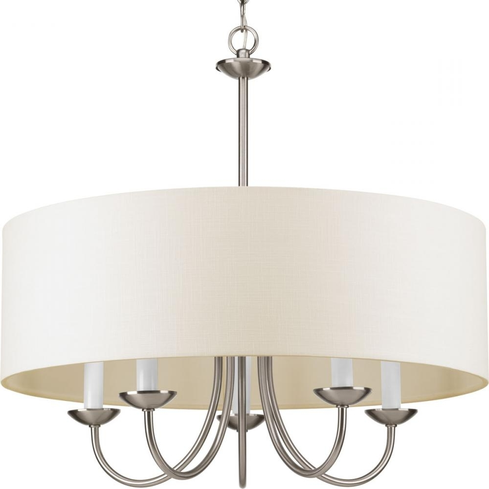 Popular Five Light Brushed Nickel Off White Glass Drum Shade Chandelier Pertaining To Fabric Drum Shade Chandeliers (View 19 of 20)