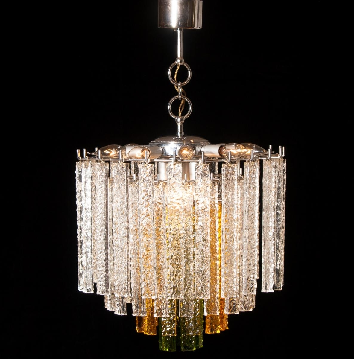 Popular Glass Chandelier Regarding Murano Tri Color Glass Chandelier From Venini, 1960S For Sale At Pamono (View 15 of 20)
