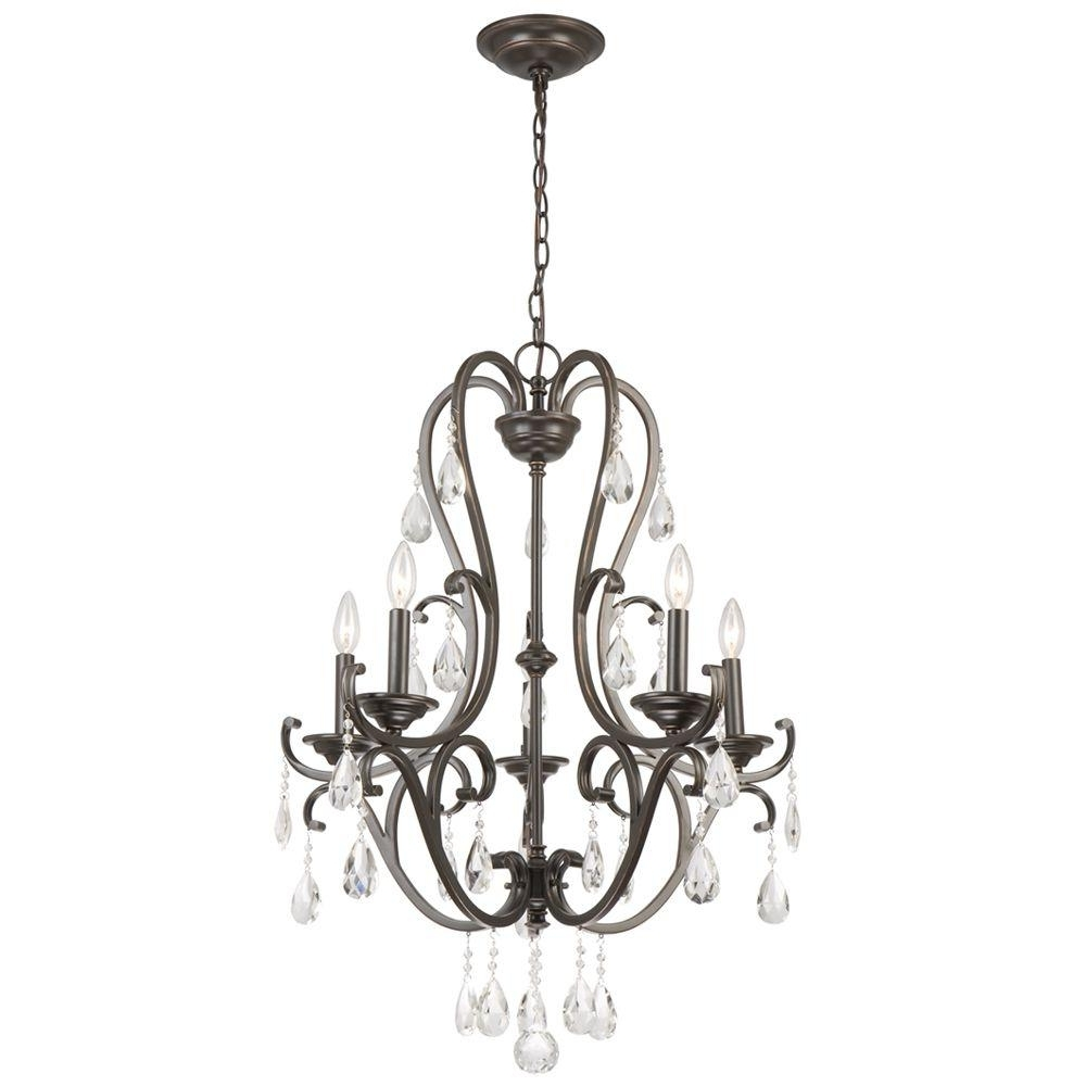 Popular Hampton Bay 5 Light Oil Rubbed Bronze Chandelier With Hanging Within Bronze And Crystal Chandeliers (View 8 of 20)