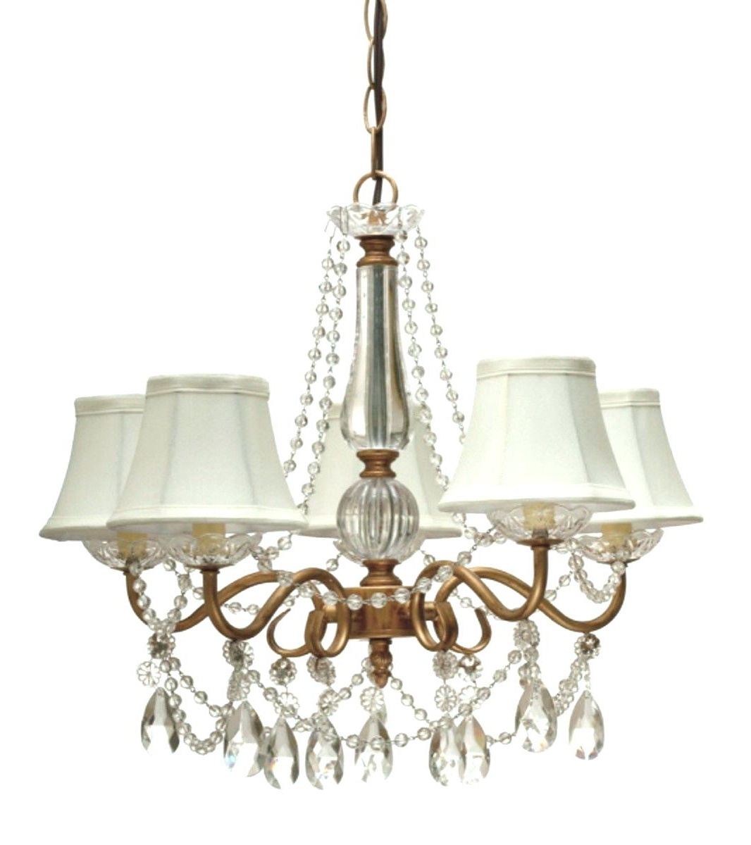 Popular Lampshade Chandeliers Intended For Light : Chandelier Fabric Sophia Crystal With White Shade W X H (View 12 of 20)