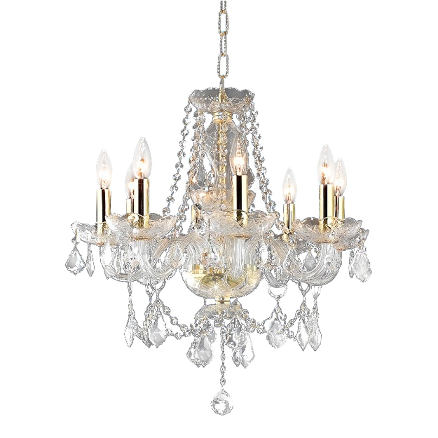 Popular Shop Elegant Lighting Princeton 20 In 8 Light Gold Crystal Crystal Inside Crystal Gold Chandelier (View 18 of 20)