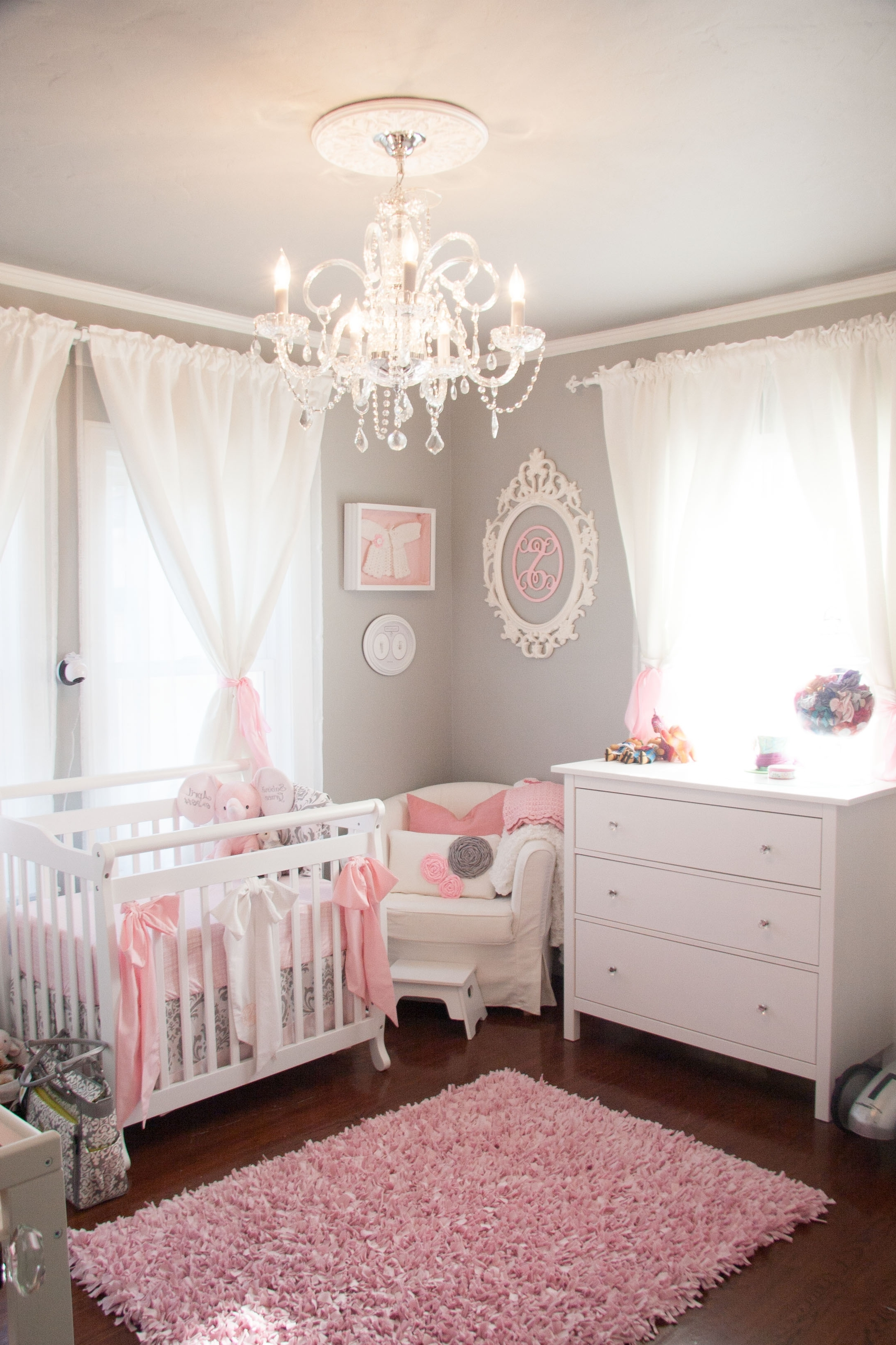Popular Tiny Budget In A Tiny Room For A Tiny Princess – Project Nursery Regarding Cheap Chandeliers For Baby Girl Room (View 19 of 20)