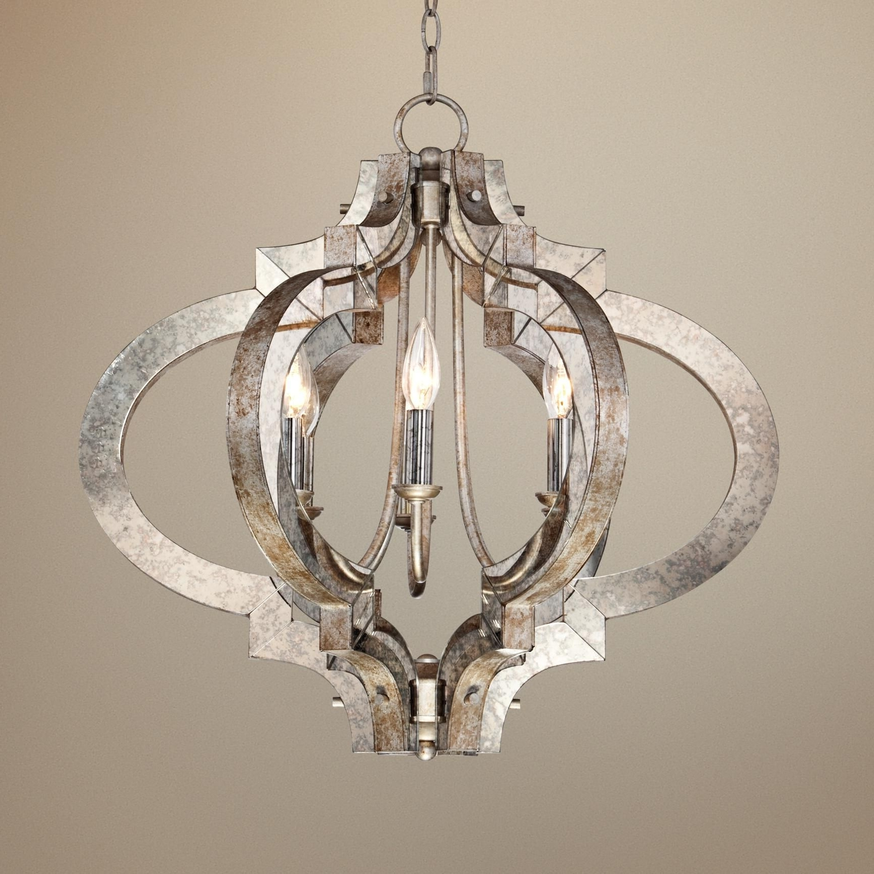 Possini Ornament Aged Silver 6 Light Chandelier – Style # T5031 With Regard To Most Popular Silver Chandeliers (View 11 of 20)