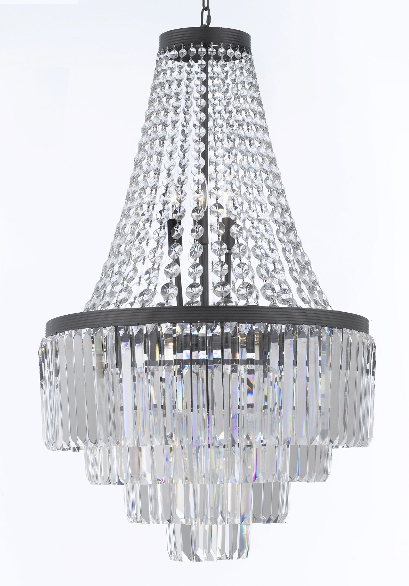 Preferred 3 Tier Crystal Chandelier Intended For G7 1100/9 Gallery Chandeliers Retro Odeon Crystal Glass Fringe  (View 17 of 20)