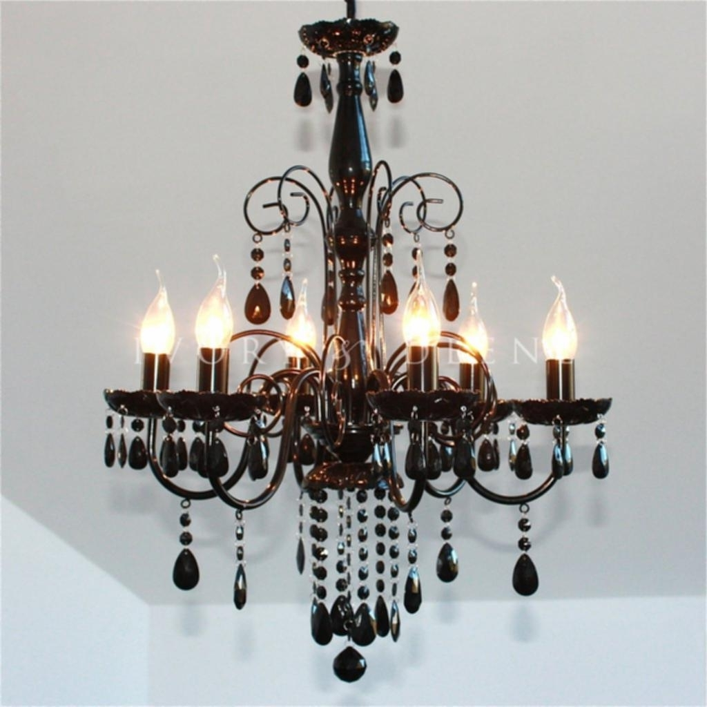 Preferred Black Chandelier Light Large Black 6 Light Elegant Crystal Intended For Large Black Chandelier (View 19 of 20)