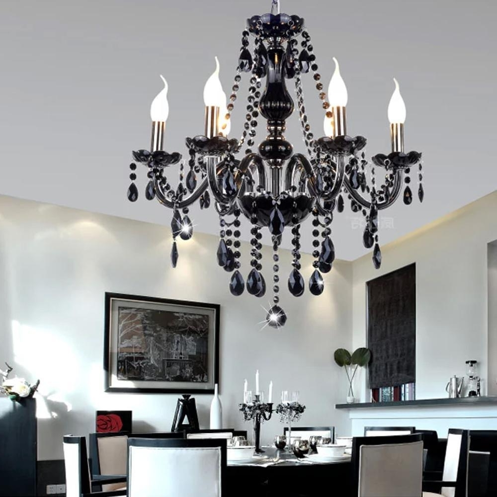 Preferred Black Modern Crystal Chandelier E14 Candle Holder Novelty Classic For Modern Black Chandelier (View 19 of 20)